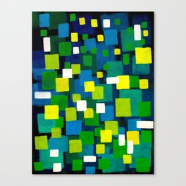 """Original Abstract Acrylic Painting by  """"City Lights"""" Colorful Geometric Square Pattern Gre Canvas Print"""