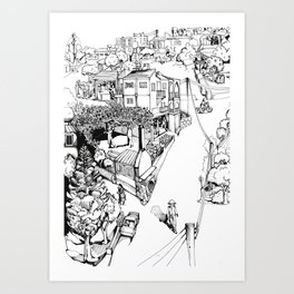 Mesogi Village Centre Art Print