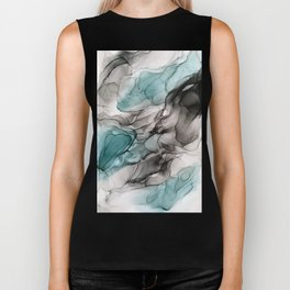 Smoky Grays and Green Abstract Flow Biker Tank