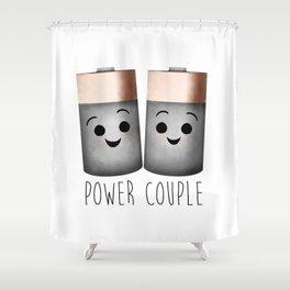 Power Couple   Batteries Shower Curtain