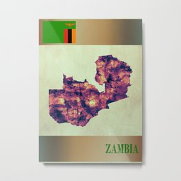 Zambia Map with Flag Metal Print