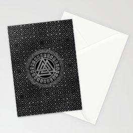 Silver Metallic Valknut Symbol on Celtic Pattern Stationery Cards