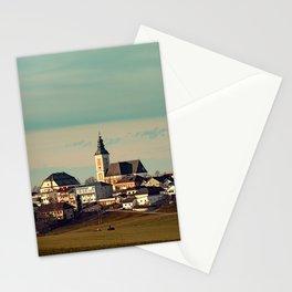Small village skyline with mint sky | landscape photography Stationery Cards
