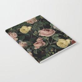 Vintage Roses and Iris Pattern - Dark Dreams Notebook