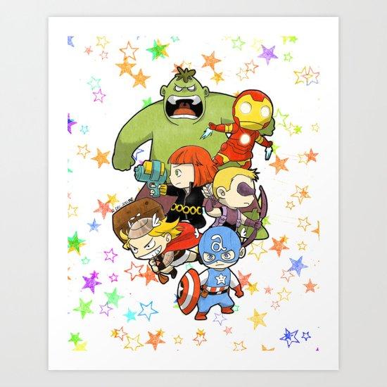 Babie Avengers Art Print
