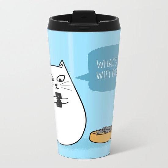 Wifi Cat Metal Travel Mug