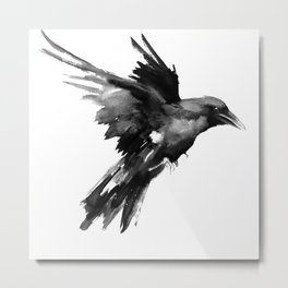 Flying Raven. tribal raven lover black and white raven decor Metal Print