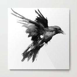 Flying Raven. tribal raven lover black and white raven decor Metal Print