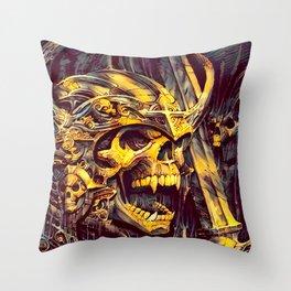 Undead Skeleton Warrior Throw Pillow