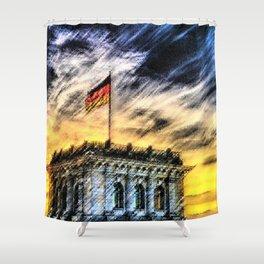 Berlin Sunrise Landscape Painting by Jeanpaul Ferro Shower Curtain