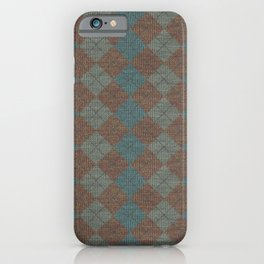 Dark Blue Brown Checkered Knitted Weaving iPhone Case