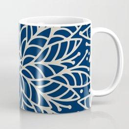 Modern navy blue ivory hand painted floral mandala Coffee Mug