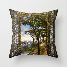 Louis Comfort Tiffany - Decorative stained glass 14. Throw Pillow