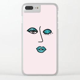 Light Pink & Teal Vampy Vixen Clear iPhone Case