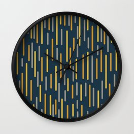 Mid-Century Modern Line Dance Pattern in Light and Dark Mustard, Gray, and Navy Blue Wall Clock