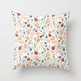 Deep Florals Throw Pillow