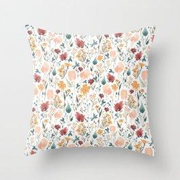 Deep Florals Throw Pillow
