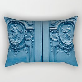 Classic Blue Door in Paris, Architecture Photography Rectangular Pillow