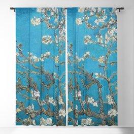 Vincent van Gogh Blossoming Almond Tree (Almond Blossoms) Medium Blue Blackout Curtain