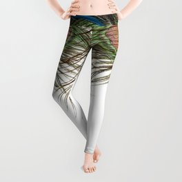 BLUE-GREEN PEACOCK FEATHERS WHITE ART Leggings