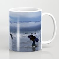 santa monica Mugs featuring Santa Monica Surf by Willinok