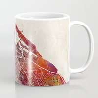 edinburgh Mugs featuring Edinburgh by MapMapMaps.Watercolors