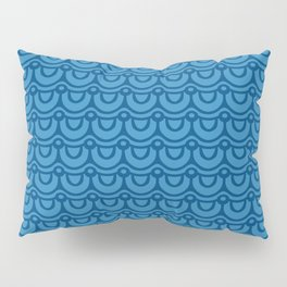 Classic Blue Boho Festival Abstract Wave Geometric Pattern Pillow Sham