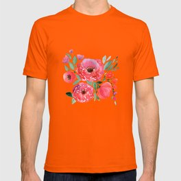 Pink-red flowers on beige. T-shirt