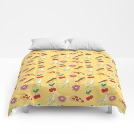Modern yellow red fruit pizza sweet donuts food pattern Comforters