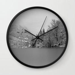 Partly Frozen Lake Bohinj Mono Wall Clock