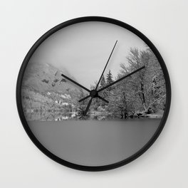 Partly Frozen Lake Bohinj Mono Wall Clock
