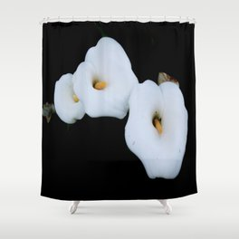 Three Calla Lilies Isolated On A Black Background Shower Curtain