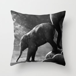 Baby elephant with mother Throw Pillow