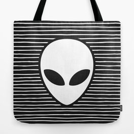 Alien on Black and White stripes Tote Bag