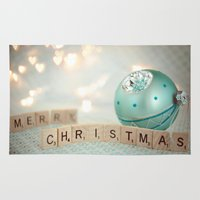 merry christmas Area & Throw Rugs featuring Merry Christmas by Yuliya