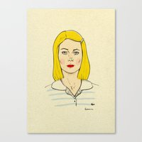 tenenbaum Canvas Prints featuring Margot Tenenbaum by Magdalena Pankiewicz