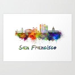 San Francisco skyline in watercolor Art Print