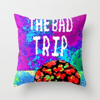 tintin Throw Pillows featuring THE BAD TRIP.  (THE ADVENTURES OF TINTIN). by Dave Bell