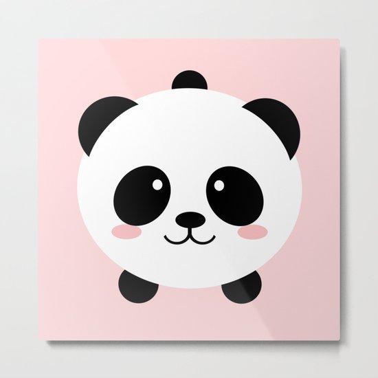 Lovely kawai panda bear Metal Print