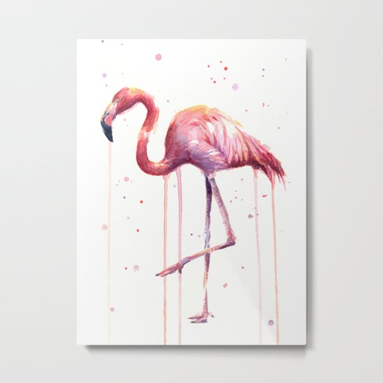 Flamingo Watercolor Tropical Birds Animal Painting Metal Print
