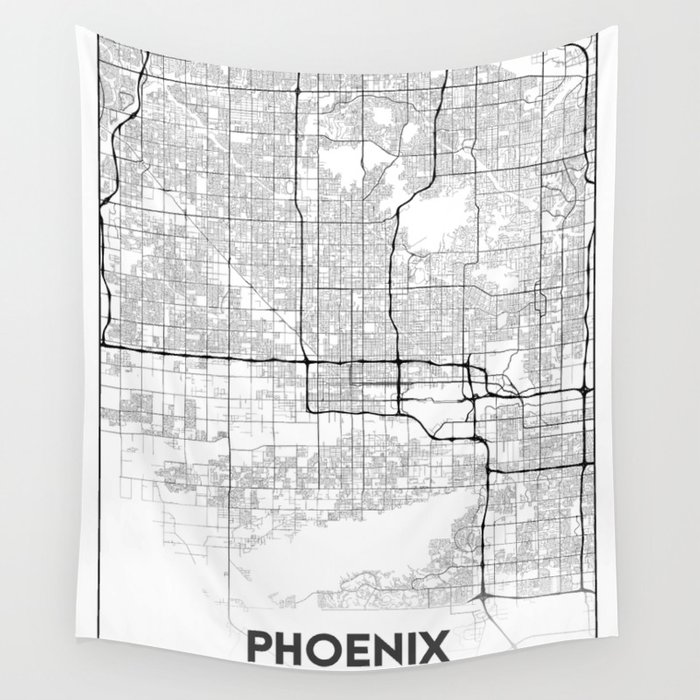 Minimal City Maps - Map Of Phoenix, Arizona, United States Wall Tapestry on town of fountain hills map, city of oakland map, town of oro valley map, town of payson map, city of mesa map, phoenix city parks map, city of cincinnati map, phoenix az map, university of phoenix map, phoenix zip code map, city of chandler map, city of atlanta map, phoenix city council district map, interactive us highway map, city of peoria map, phoenix street map, arizona map, city of houston map, city of buckeye map, phoenix weather map,