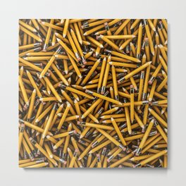 Pencil it in / 3D render of hundreds of yellow pencils Metal Print