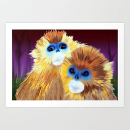 Blue Monkeys Art Print