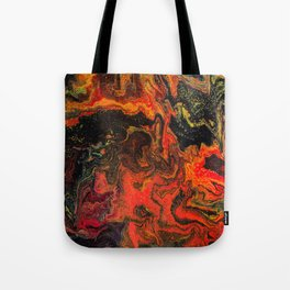 Fluid Art Acrylic Painting, Pour 10, Black, Red, Yellow & Orange Blended Color Tote Bag