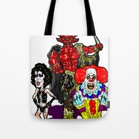 pennywise Tote Bags featuring Triple Tim Treat! Tim Curry as Pennywise, Legend & Frankenfurter in Rocky Horror picture Show by beetoons