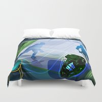 hockey Duvet Covers featuring Hockey by Robin Curtiss
