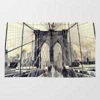 bridge Area & Throw Rugs featuring Brooklyn Bridge by takmaj