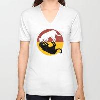 lunar V-neck T-shirts featuring Solar & Lunar by Tummeow