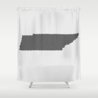 tennessee Shower Curtains featuring Tennessee State Line  by Beastie Toyz