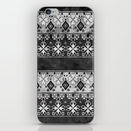 Ethnic black and gray ornament . Grunge . iPhone Skin
